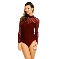 SEXY GLAMOUR BODYSHIRT WITH MESH AND LACE WINE-RED
