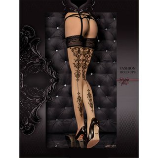 Sexy Ballerina hold-up nylon stockings with pattern nude/black UK 12/14 (L/XL)