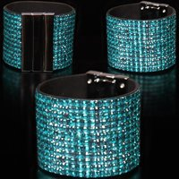Precious glamour party armlet rhinestone look turquoise