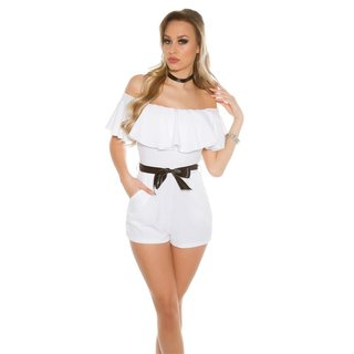 Sexy Latino-Style Hotpants-Overall Playsuit mit Volant Weiß