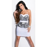 GLAMOUR SATIN EVENING DRESS WITH SEQUINS AND PEPLUM WHITE