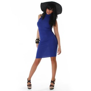 ELEGANT LONG KNITTED DRESS BLUE