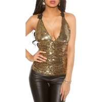 Precious sequined top with embroidery black/gold Onesize...