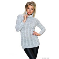 ELEGANT LONG POLO-NECK SWEATER WITH CABLE STITCH LIGHT GREY