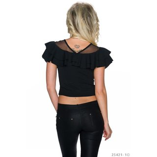 LADIES BELLY SHIRT IN LATINA STYLE WITH MESH AND FLOUNCES BLACK