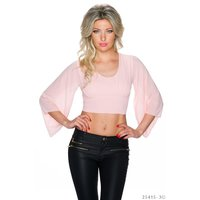 LADIES BELLY CHIFFON SHIRT WITH TRUMPET SLEEVES PINK