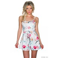 SHORT OVERALL WITH PANT SKIRT AND FLOWER DESIGN PLAYSUIT...