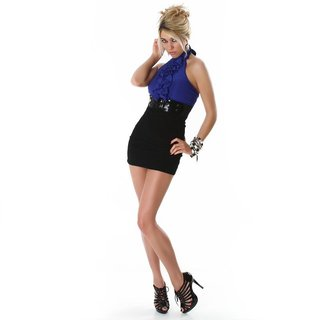 Sexy pencil dress mini dress with belt blue/black
