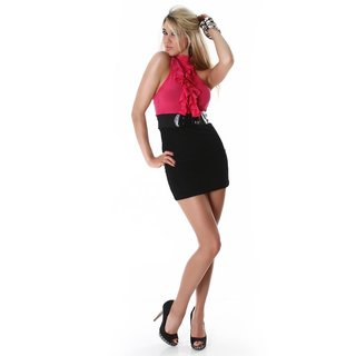 SEXY PENCIL DRESS MINIDRESS WITH BELT FUCHSIA/BLACK