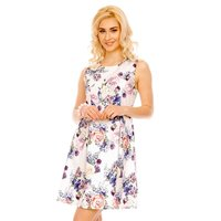 SWEET SLEEVELESS A-LINE MINIDRESS WITH FLORAL PATTERN WHITE