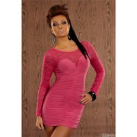 SEXY MINIDRESS EVENING DRESS WITH LACE LONG-SLEEVED FUCHSIA