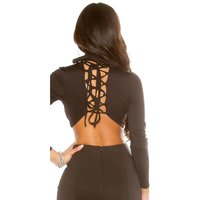 SEXY LONG-SLEEVED LADIES CROP SHIRT WITH LACING BLACK