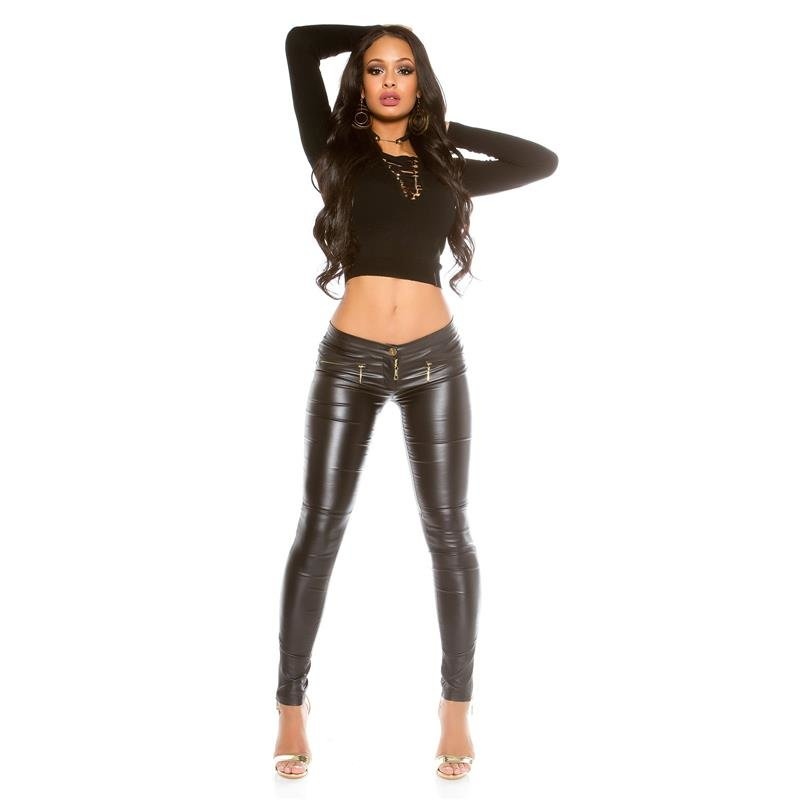 SEXY LADIES' LEATHER-LOOK PANTS WITH ZIPPER AT LEG WET ...