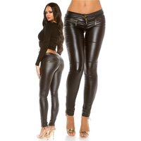 SEXY LADIES LEATHER-LOOK PANTS WITH ZIPPER AT LEG WET...