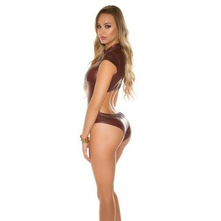 Sexy Body in Wetlook mit Stehkragen Gogo Clubwear Bordeaux
