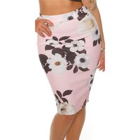 ELEGANT KNEE-LENGTH PENCIL SKIRT WITH FLORAL PATTERN PINK