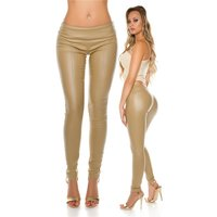 SEXY SKINNY LEATHER LOOK DRAINPIPES TREGGINGS BEIGE