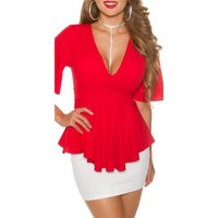 Elegant short-sleeved ladies shirt in babydoll style red...