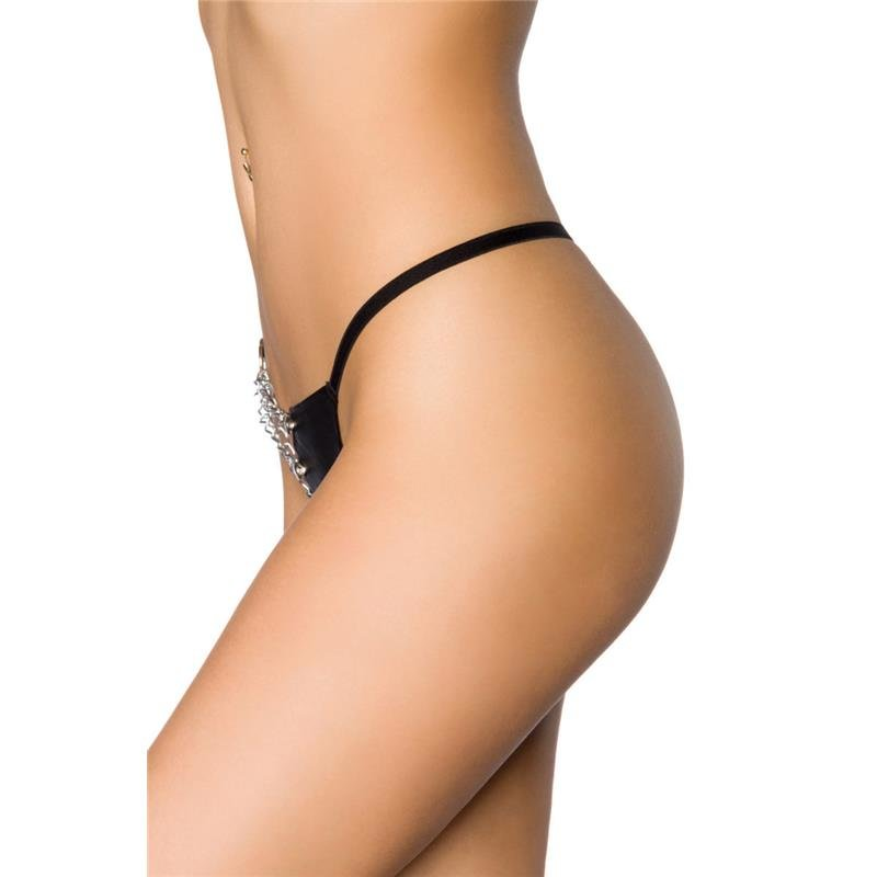 Black Leather G String Thong With Front Chain Detail For Her
