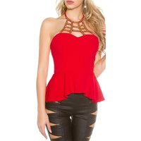 Elegant glamour halterneck top with ornament red Onesize...