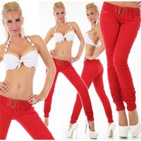 Sexy ladies pants drainpipe jeans with ruffles incl. belt...