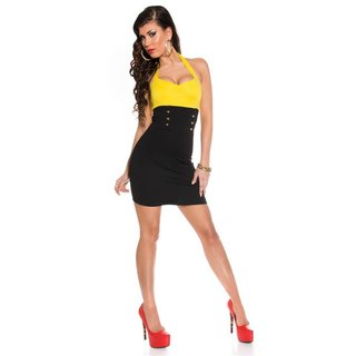 Sexy halterneck mini dress with decorative buttons yellow/black