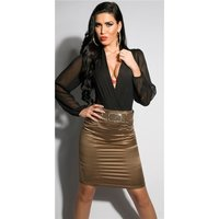 ELEGANT SATIN PENCIL SKIRT WITH PINSTRIPES INCL. BELT...