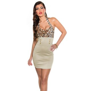 Sexy halterneck mini dress with decorative buttons leopard/beige UK 10 (S)