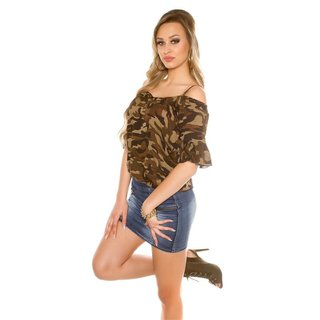 Trendy Cold-Shoulder Shirt mit Volantärmeln Army Camouflage