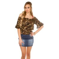 TRENDY COLD SHOULDER SHIRT WITH FLOUNCED SLEEVES ARMY...