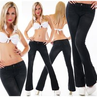 SEXY FADED LADIES FLARE CUT JEANS USED LOOK BLACK