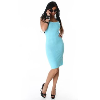 ELEGANT LONG KNITTED DRESS AQUA