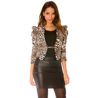 ELEGANT WAISTED LADIES BLAZER JACKET LEOPARD BROWN