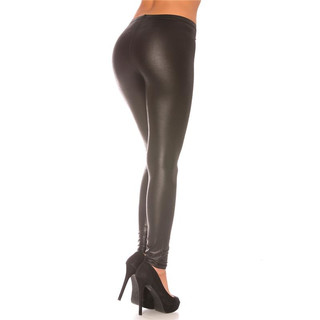Sexy Glanz Leggings Wetlook Schwarz