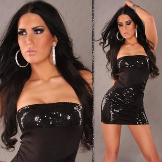 SEXY BANDEAU MINIDRESS WITH SEQUINS BLACK