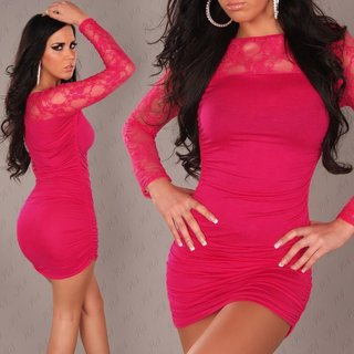 Elegant mini dress with lace fuchsia