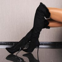 SEXY OVERKNEE BOOTS MOCK SUEDE WITH FAKE FUR EDGING BLACK