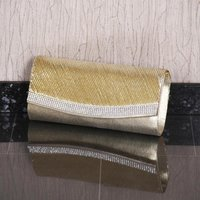 Noble glamour satin clutch bag with rhinestones gold