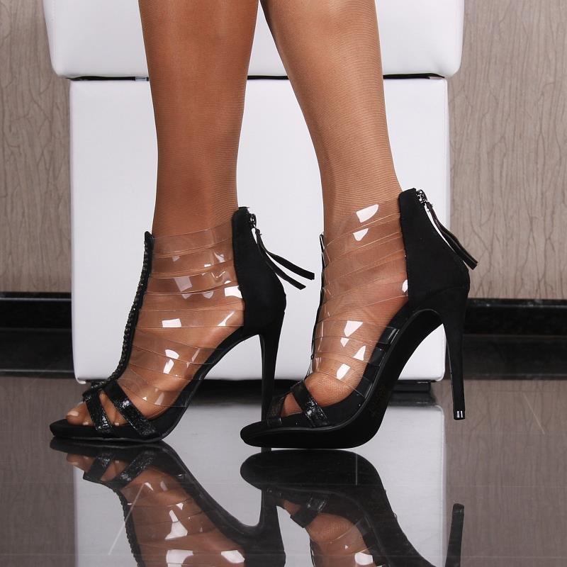sexy high heel sandaletten mit transparenten riemchen 29 95. Black Bedroom Furniture Sets. Home Design Ideas