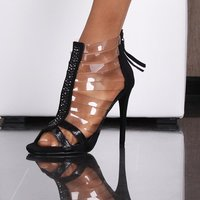 SEXY SANDALS HIGH HEELS WITH TRANSPARENT STRAPS BLACK