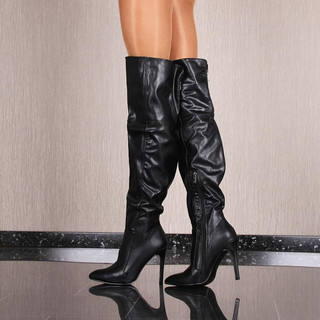SEXY LADIES OVERKNEE BOOTS MADE OF SOFT ARTIFICIAL LEATHER BLACK