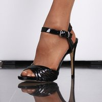 ELEGANT SANDALS IN GLOSSY PATENT LEATHER LOOK WITH ANKLE...