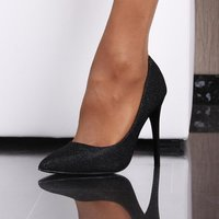 GLAMOROUS HIGH HEELS COURT SHOES WITH GLITTER-EFFECT BLACK