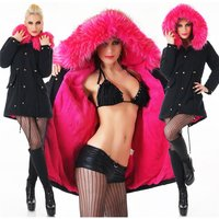 WARM PARKA COAT WINTER JACKET WITH FAKE FUR BLACK/FUCHSIA