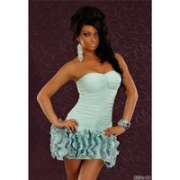 ELEGANT BANDEAU EVENING DRESS AQUA