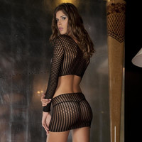 Sexy 2 pcs crochet fishnet bodystocking gogo clubwear black