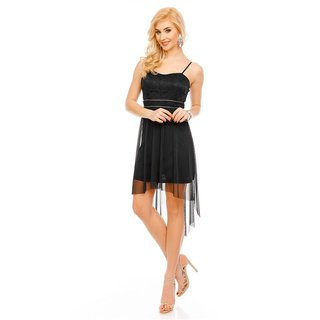 Noble short evening dress with tulle and lace black