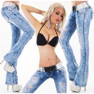 Sexy Damen Destroyed Bootcut Jeans Acid-Wash inkl. Gürtel Blau