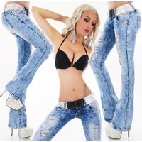 SEXY DAMEN DESTROYED BOOTCUT JEANS ACID-WASH INKL. GÜRTEL...