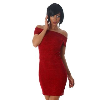 SEXY SHORT-SLEEVED RIB-KNIT CARMEN MINIDRESS RED
